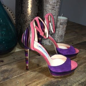New Jimmy Choo Suede Color Block Stiletto Sandals